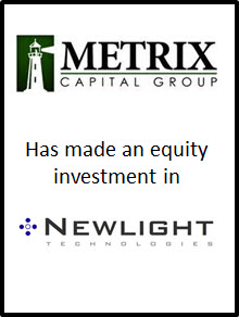METRIX Capital Group makes Equity Investment in Newlight Technologies