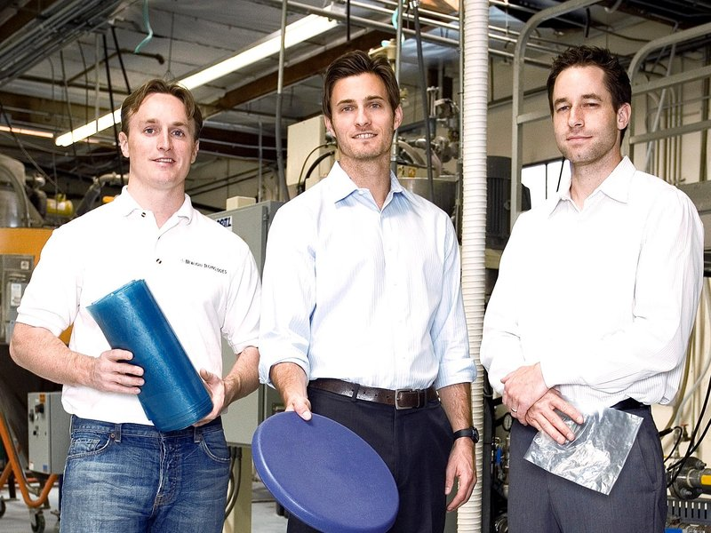 Evan Creelman, Newlight COO; Mark Herrema, Co-Founder and CEO; and Kenton Kimmel, Co-Founder and CTO, with a few products made of AirCarbon. (Newlight)